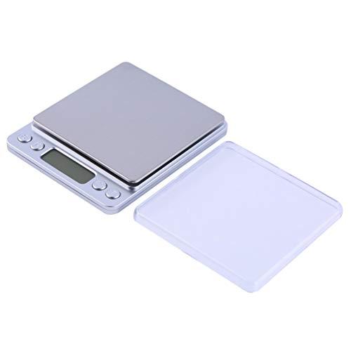 SWEEPID 2015 WH-I2000 - Báscula digital para cocina (pantalla LCD, 500 g, 0,01 g), color plateado