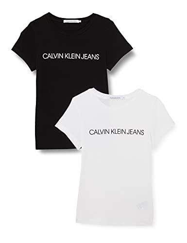 Calvin Klein Jeans INSTITUTIONAL Logo 2-Pack tee Camiseta, Blanco Brillante/Negro CK, XS para Mujer
