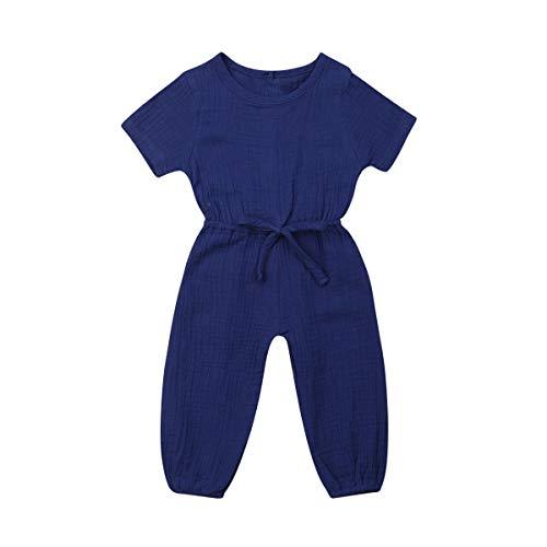 Mubineo Toddler Baby Girl Summer Fall Basic Plain Short Sleeve Cotton Linen Drawstring Romper Jumpsuit (Royal Blue, 2-3T)