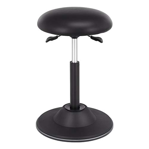 SONGMICS Office Stool Chair, Adjustable Height Sit Stand Stool, 360° Swivel Wobble Stool, for Office Home, Black UOSC11BK