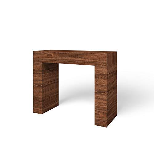 Tavolo Consolle In Legno, Tavolo Salvaspazio Fisso, Design Arequipa Moderno Ed Elegante, Consolle Per Casa Ingresso Ufficio, 110 x 40 x 80 cm, (Noce)