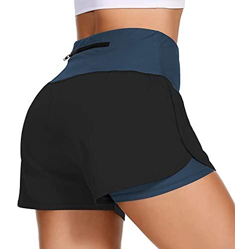 uideazone Sporthose Damen Kurz 2 In 1,Damen Sport Shorts Sommer Kurze Sporthose Hohe Taille Yoga Hose Tanzshorts Gym Fitness Hotpants Marine