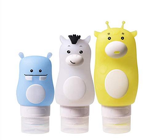 Silikon Reiseflaschen Set, LaceDaisy 3er-Pack Auslaufsichere Reise-Behälter mit Etikett und Transparente Kosmetiktasche für Shampoos, Lotionen und Körperpflege Produkte, BPA-frei(50/70/90ml)