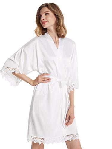AW BRIDAL batas sedosas con adornos de encaje para mujer, camisón corto de dama de honor para fiesta de novia, ropa de dormir, bata de satén de talla grande, blanco XL