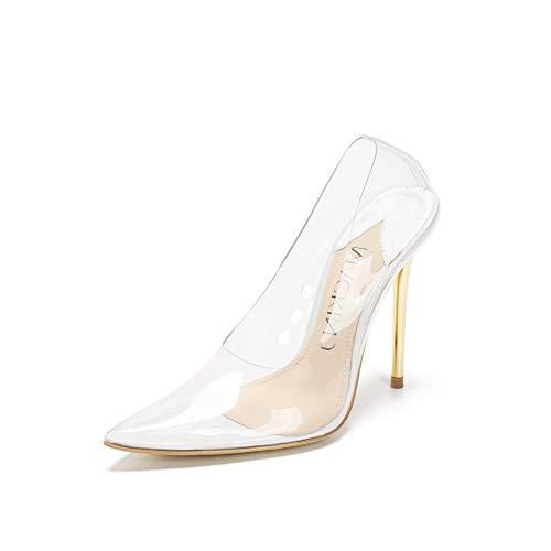 MACKIN J 188-7 Women's Clear Pumps Pointed Toe Slip On Stiletto Heel Dress Shoes (9, Transparent)