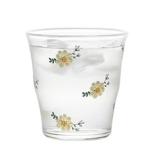 XDYNJYNL Taza de té de vidrio de 6 onzas, 183 ml de aislamiento de patrón de margarita taza de leche de vidrio transparente, taza de café, tazas de té de piña, vasos de agua de cóctel transparentes