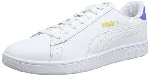 PUMA Unisex Smash V2 L Sneaker, White Palace Blue Team Gold, 36 EU
