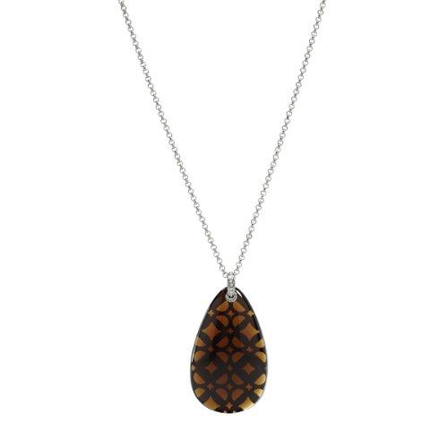 Fossil Damen-Halskette mit Anhänger Edelstahl Glas braun 80 cm JF00008040