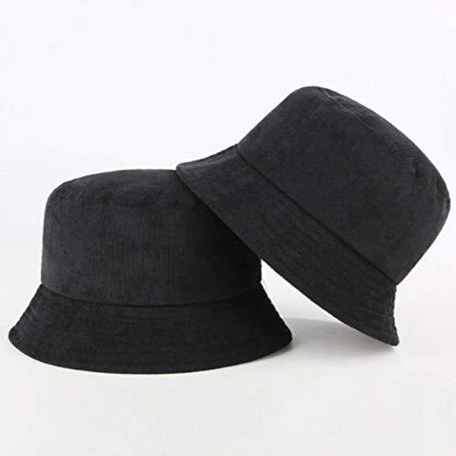 LORSOUL Blank Corduroy Bucket Hat For Women Spring Autumn Plain Men Panama Outdoor Hiking Beach Fishing Cap Sunscreen Female Sunhat,Black