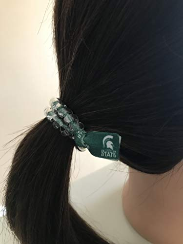 Michigan State Spartans football secure sports hair tie hair cord hair elastic for all pony tail types messy buns foe hair art