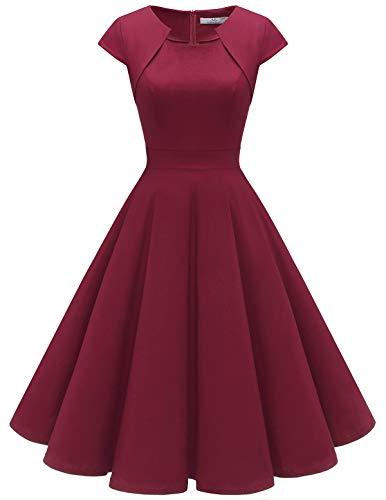 HomRain 1950er Vintage Retro Cocktailkleider Damen Kurzarm Rockabilly Kleider Party Abendkleider Schwingen Faltenrock Dark Red XS