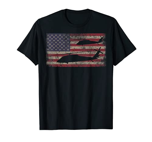 UH-60 Black Hawk Helicopter Gift USA Vintage American Flag T-Shirt
