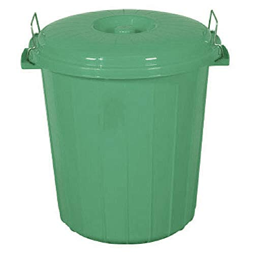 S&MC Gardenware Small 50L / 70L Coloured Plastic Bin Outdoor Rubbish Dustbin Animal Feed Seed Storage (70L, Green)