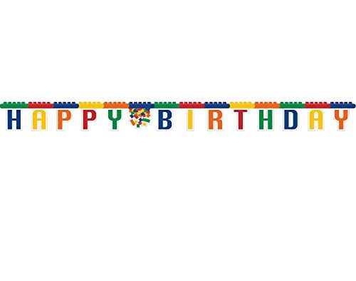 Creative Convertting- Festone Snodabile Happy Birthday 260 Cm Block Party, Multicolore, Taglia USA, 8C315260