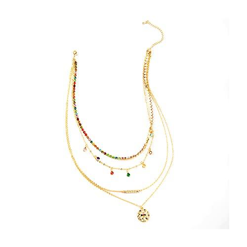1 pieza conjunto de múltiples capas cadena gargantilla collares coloridos diamantes clavícula cadena suéter accesorios