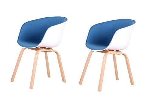 ZMALL - Set di 2 poltrone patchwork in tessuto per sala da pranzo, cucina, sala da pranzo, casa, ufficio, sedia in stile retrò, mobili da bar (blu scuro)