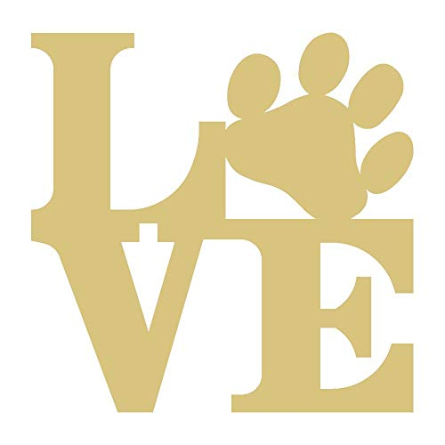 """Love Paw Cutout Unfinished Wood Dog Lover Door Hanger Everyday Decor MDF Shaped Canvas Style 1 (12"""")"""