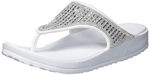 Skechers Damen Cali Breeze 2.0 Rhinestone Hooded Sandal Flipflop, Weiß mit klaren Strasssteinen, 38 EU