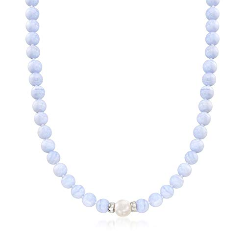 Ross-Simons Blue Agate and Cultured Pearl Beaded Necklace in Sterling Silver