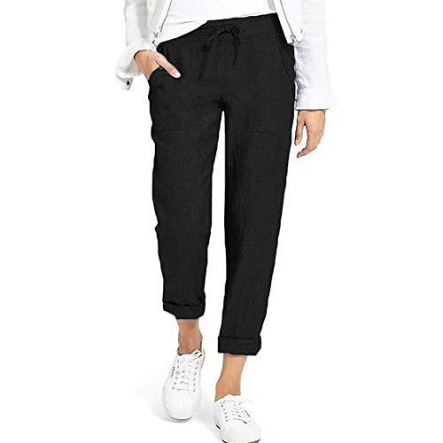 Shujin Pantalones de verano para mujer, de algodón, 7/8 de longitud, bombachos, de estilo harén, ligeros, elásticos, cómodos, para la playa o el tiempo libre. Negro XL