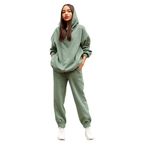 MoneRffi Damen Sportanzug Trainingsanzug Mode 2-teiliges Set Damen Sport Hoodie Langarm Sweatshirt Pullover Top + Lange Hose Jogginganzug Sportbekleidung Freizeitbekleidung Set Outfit(D#hellgrün,S)