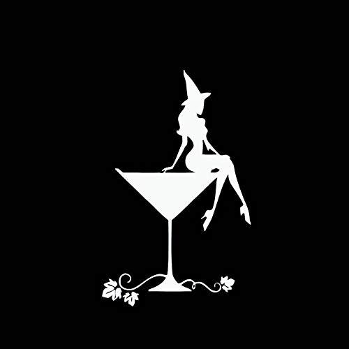 BLOUR Copa de Vino de 14x9 CM y Pegatina de Coche de Bruja Sexy Estilo Popular diseño Lindo Vinilo Moda calcomanía Negro/Plata