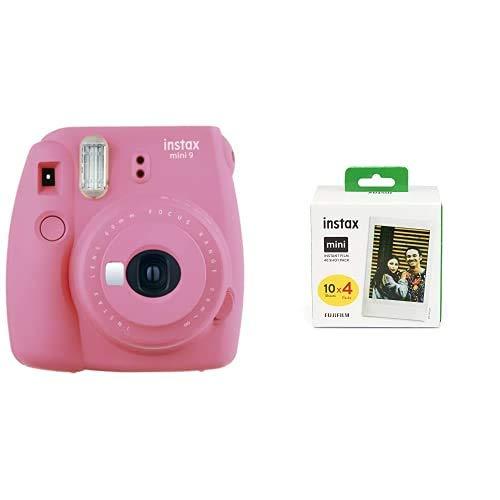 Fujifilm Instax Mini 9 - Cámara instantanea, Rosa (Flamingo Rosa) + Pack de 40 películas