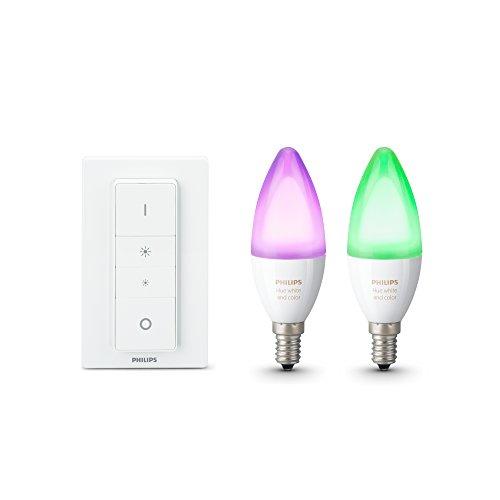 Philips Hue Pack de 2 ampoules connectées White & Color flamme E14...