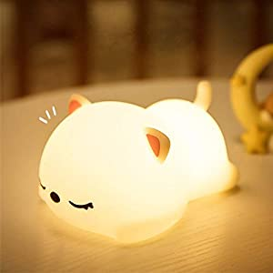 LED Nursery Night Lights for Kids,Animal Silicone Baby Cute Night Light with Touch Sensor – Portable and Rechargeable Infant or Toddler Cool Color Changing Bright Night Lamp Baby Gift