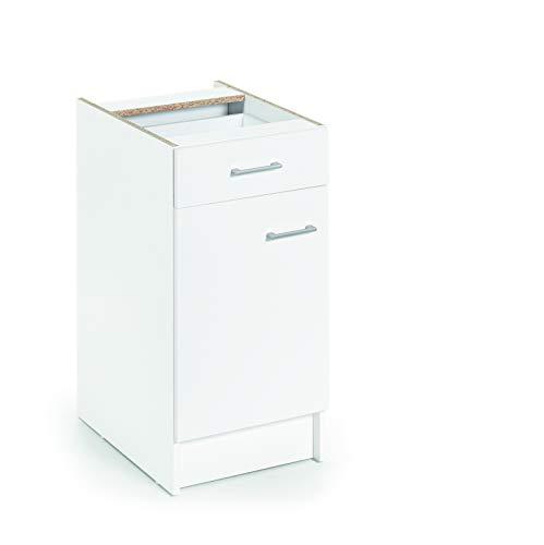 Armario bajo de cocina, blanco, de 40cm con 1 puerta y 1 cajón