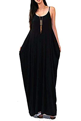 Vivicastle Batwing Oversized Loose Plain Summer Sleeveless Pocket Long Maxi Dress