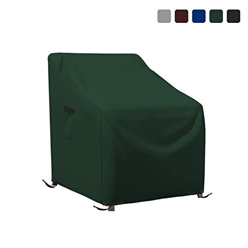 Patio Chair Cover 18 Oz Waterproof - 100% UV & Weather Resistant 1000 D PVC Coated Stackable Chair Covers with Air Pockets and Drawstring for Sung fit (36W x 37D x 36H, Green)
