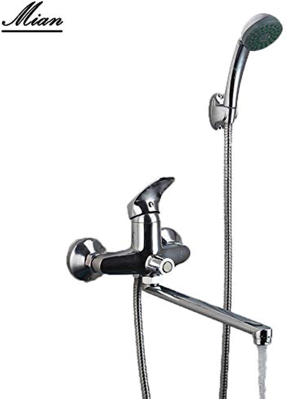 RU Lager Bad Duschset Mischer lange Nase Auslauf Edelstahl Messing Duscharmatur Duscharmatur Set Duschset Wasserhahn, Russische Fderation