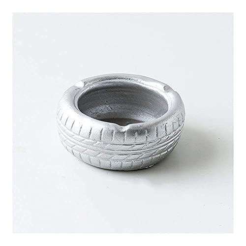 AWnk Cenicero Cenicero Creatividad Ceniza bandejas decoración Creativa Cemento Adornos té Mesa Retro Vintage Oficina Personal de neumático Personal (Color: Rojo) (Color: Plata) (Color : Silver)