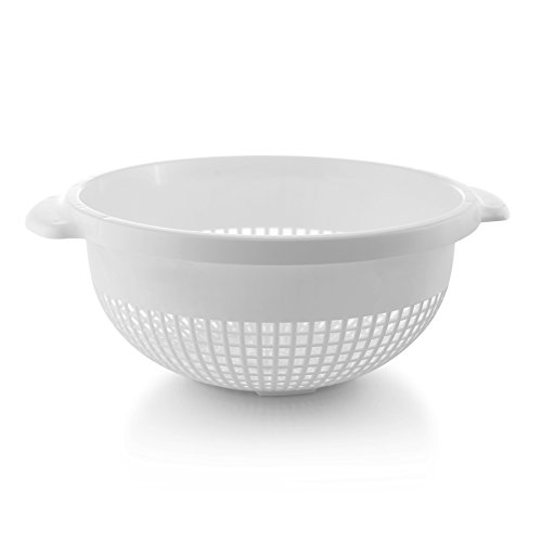 YBM Home 14 Inch Plastic Strainer Colander with Handle – Made of Food Safe BPA-Free Plastic -Dishwasher Safe - Use for Pasta, Noodles, Spaghetti, Vegetables and More 31-1128-white (1, White)