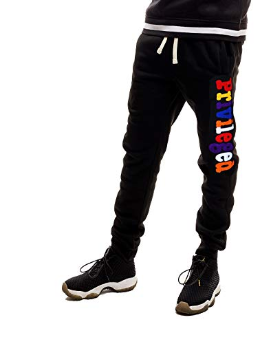 SCREENSHOT SPORTS-P11977 Mens Premium Hip Hop Fashion Pockets Fleece Pants - Athletic Jogger Chenille Embroidery Fitness Utility Sweatpants-Black-XLarge