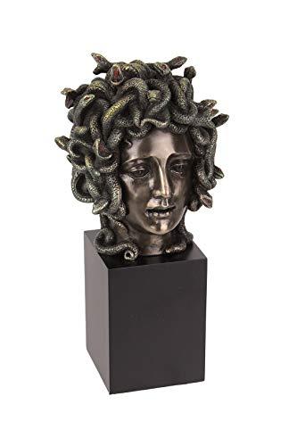Veronese Design Ghisa in Resina Bronzo Medusa Testa Figura su Zoccolo Busto Scultura Dipinta Accento Art