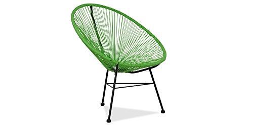Acapulco silla Verde Sillón metálico cuerdas verdes para  jardín, terraza, balcón, terrado, exterior, hostelería. 1 unidad