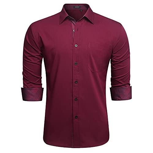 HISDERN Herren rot Hemd Regular Fit Herrenhemden Langarm-Hemden Freizeit-Hemd Baumwolle Business Modern Party Shirt fur Manner 2XL