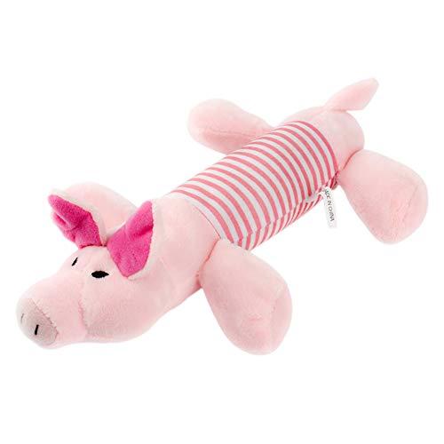 Ruikey Perro de Sonido de Masticar Juguete de Felpa Forma de Pato Mascota Cat Puppy Squeaker chirriador de Juguete(Cerdo)