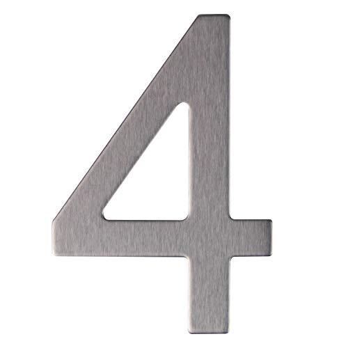 Número y letra de la calle, número de la puerta o número de la casa, de acero inoxidable Plata brillante, con soporte adhesivo, de 76 mm de altura (4)