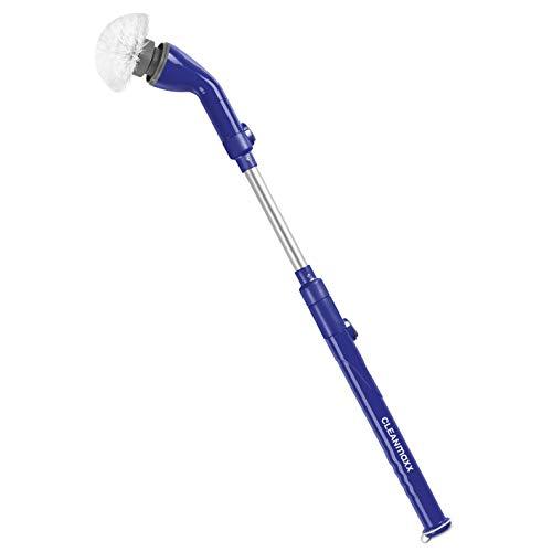 CLEANmaxx Akku-Reinigungsbürste 3,7 V | elektrische Reinigungsbürste mit Aufsätzen zum Putzen und Polieren | mit Verlängerungsarm zur gründlichen Reinigung im gesamten Haushalt | Felgenbürste [blau]