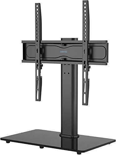 BONTEC Supporto da Tavolo per TV da 26-55 Pollici, Regolabile in Altezza e Girevole Piedistallo per TV Max VESA 400x400 mm, che Regge fino a 45 kg