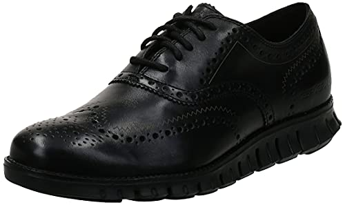 Cole Haan Men's Zerogrand Wing OX Leather Oxford, black closed hole/black, 12 Wide US