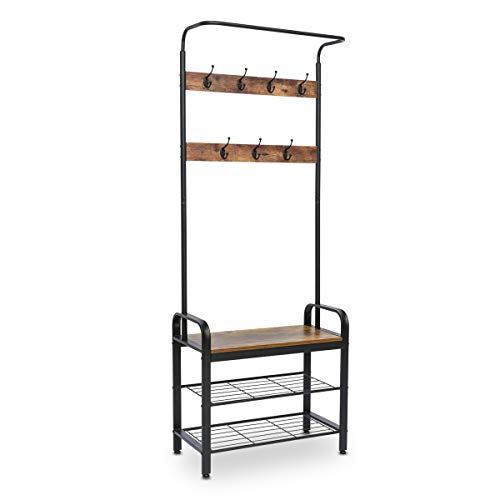KINGSO Industrial Coat Rack Hall Tree Entryway Coat Shoe Rack 3-Tier Shoe Bench 7 Hooks Wood Look Accent Furniture with Stable Metal Frame Easy Assembly