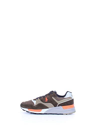 Ralph Lauren Herren Sneakers Trackstr Pony Olive/Orange MOD. 809784342, Grün - Oliveorange - Größe: 45 EU
