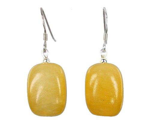 Ohrringe aus gelbem Honigcalcit in Quaderform mit Ohrhaken aus 925er Silber