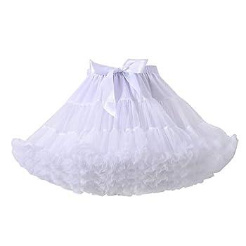 Women s Petticoat Skirt Elastic Waist Puffy Tulle Tutu Pettiskirts Underskirt for Ballet,Dance,Party White