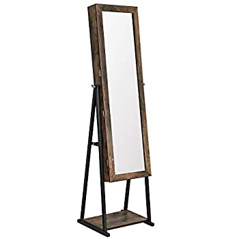 SONGMICS Industrial Mirror Jewelry Cabinet Armoire,6 LEDs Mirrored Jewelry Storage Wood Look with Stable Metal Frame Easy Assembly Rustic Brown UJJC95BC