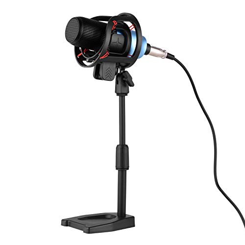 Walory Micrófono de Condensador cardioide Profesional con Soporte de Mesa de Montaje de Choque Cable XLR de 3 Pines a 3,5 mm TRS para transmisión de grabación de transmisión de Video